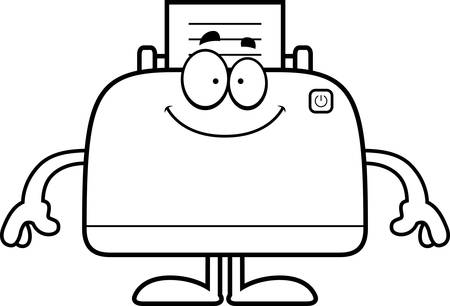A cartoon illustration of a printer looking happy. Ilustracja