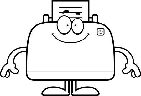 desktop printer: A cartoon illustration of a printer looking happy. Illustration