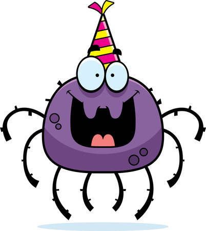 A cartoon illustration of a spider with a party hat looking happy. Illustration