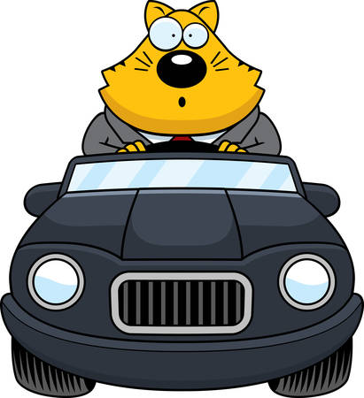 cat suit: A cartoon illustration of a fat cat driving a car and looking surprised.