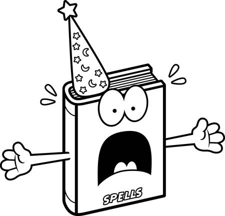 A cartoon illustration of a spell book looking scared.