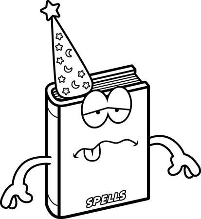 spell: A cartoon illustration of a spell book looking sick.