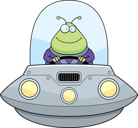 spacesuit: A cartoon illustration of an alien in a UFO smiling.