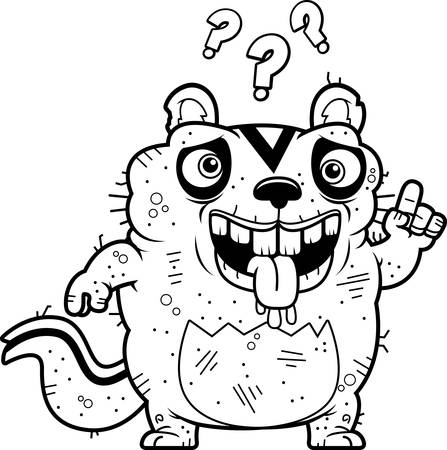 unattractive: A cartoon illustration of an ugly chipmunk looking confused.