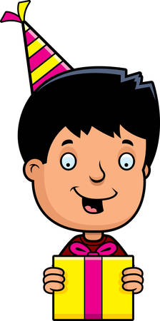 hispanic boys: A cartoon illustration of a teenage boy with a birthday present. Illustration