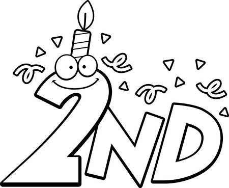 2nd: A cartoon illustration of the text 2nd with a birthday candle and confetti.