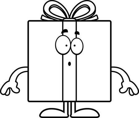 astonish: A cartoon illustration of a birthday gift looking surprised.