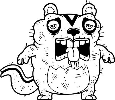 A cartoon illustration of an ugly chipmunk looking tired. Ilustração