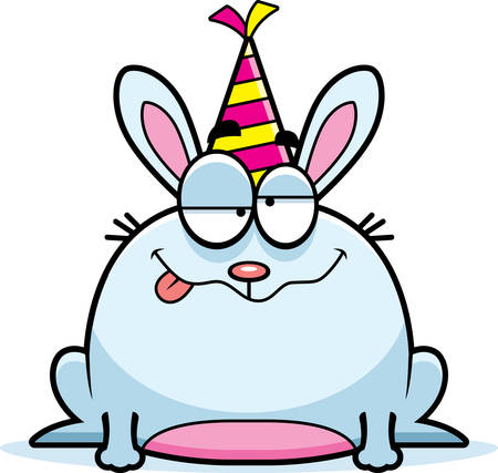 drunk party: A cartoon illustration of a rabbit with a party hat looking drunk.