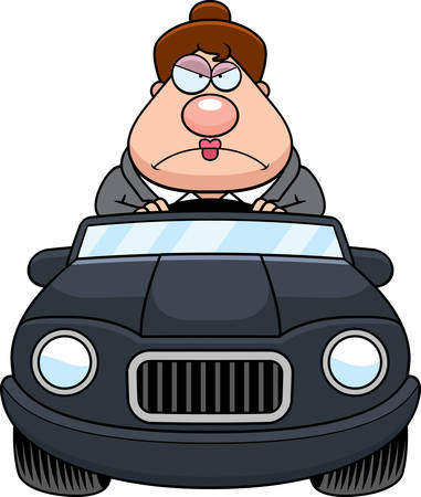 road rage: A cartoon illustration of a businesswoman driving a car with an angry expression.