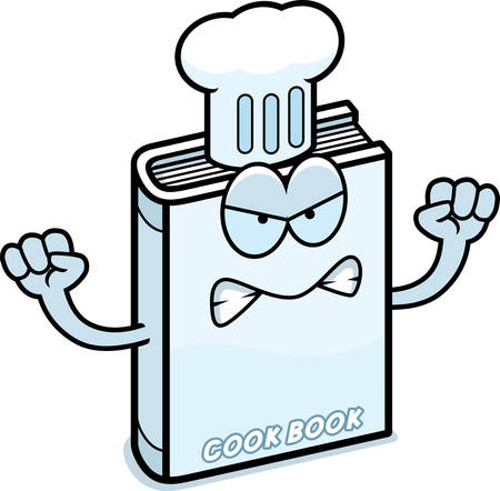 cookbook: A cartoon illustration of a cookbook looking angry. Illustration