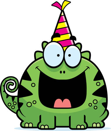 smirking: A cartoon illustration of a lizard with a party hat looking happy.