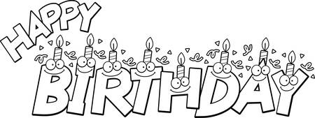 A cartoon illustration of the text happy birthday with birthday candles and confetti. Illustration