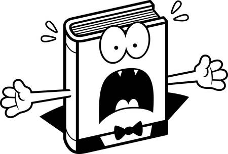 novel: A cartoon illustration of a horror novel looking scared.