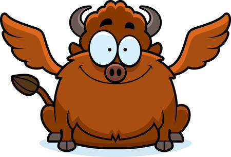A cartoon illustration of a buffalo with wings smiling. Illustration