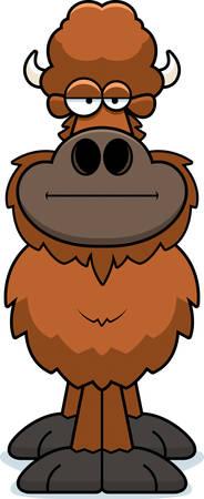 A cartoon illustration of a buffalo with a bored expression.