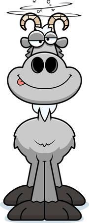 billy: A cartoon illustration of a goat looking drunk. Illustration