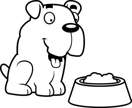 A cartoon illustration of a Bulldog with a bowl of food.