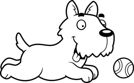 A cartoon illustration of a Scottie chasing a ball.