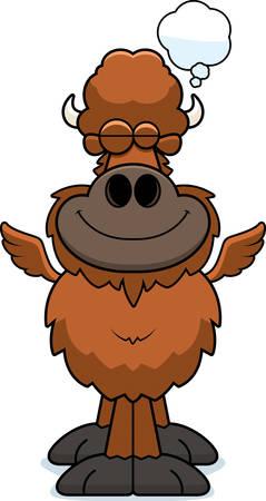 A cartoon illustration of a winged buffalo dreaming.