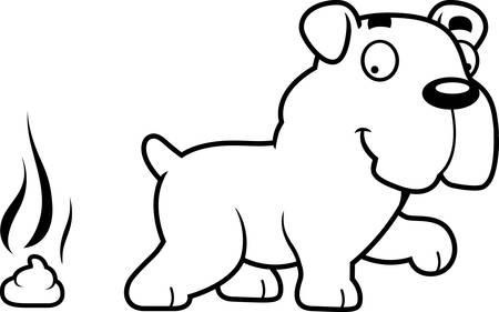 A cartoon illustration of a Bulldog pooping.