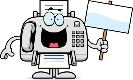 A cartoon illustration of a fax machine holding a sign. Illustration
