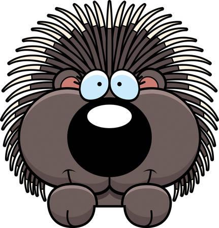 A cartoon illustration of a porcupine peeking over an object. Çizim