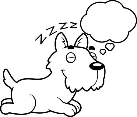 A cartoon illustration of a Scottie sleeping and dreaming. Illustration