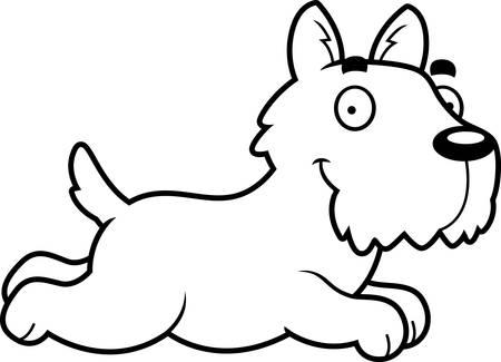scottish terrier: A cartoon illustration of a Scottie running.