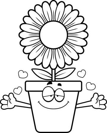flowerpot: A cartoon illustration of a flowerpot ready to give a hug. Illustration