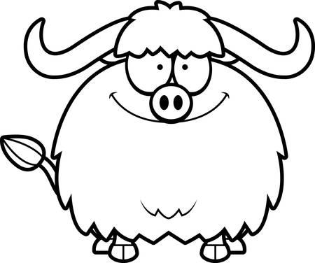 smilling: A cartoon illustration of a yak smiling. Illustration