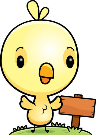 wooden post: A cartoon illustration of a baby chick with a wooden sign post. Illustration