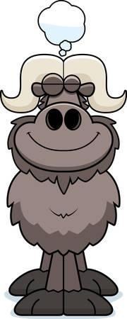 A cartoon illustration of an ox dreaming. Illustration
