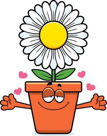 A cartoon illustration of a flowerpot ready to give a hug. Stock Illustratie