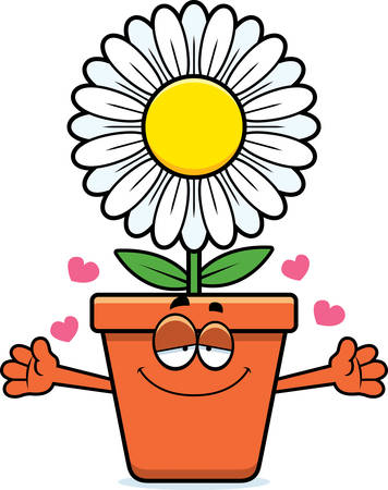 A cartoon illustration of a flowerpot ready to give a hug. Illustration
