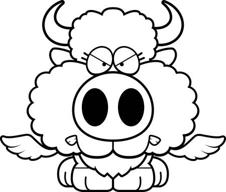 A cartoon illustration of a winged buffalo with an angry expression. Illustration