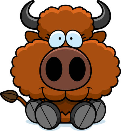 A cartoon illustration of a buffalo sitting and smiling.