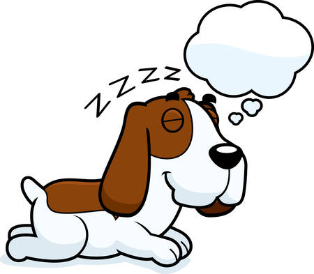 hound: A cartoon illustration of a Basset Hound sleeping and dreaming.