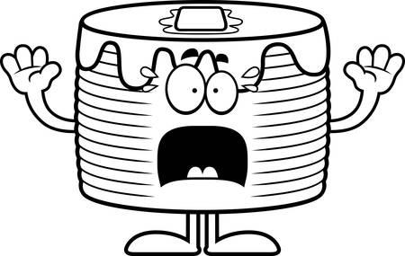 A cartoon illustration of a stack of pancakes looking scared. Ilustração