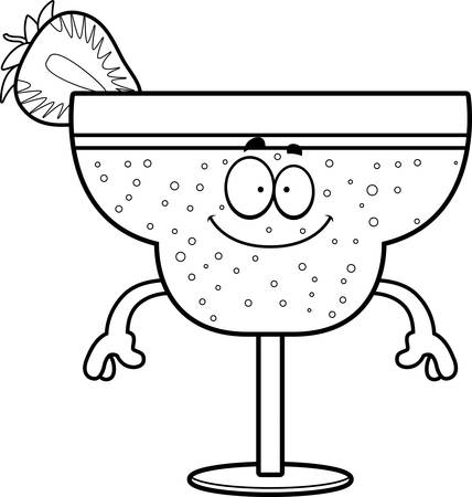 daiquiri alcohol: A cartoon illustration of a strawberry daiquiri looking happy.