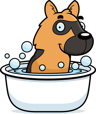 alsatian: A cartoon illustration of a German Shepherd taking a bath.