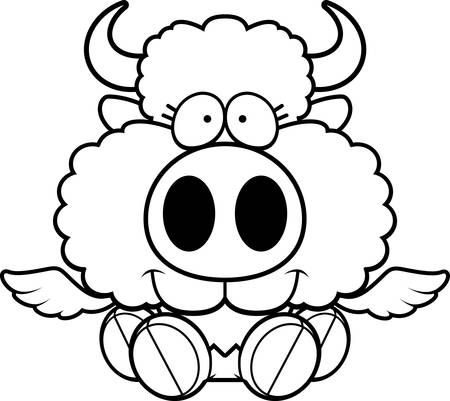 A cartoon illustration of a winged buffalo sitting and smiling.