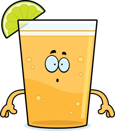 A cartoon illustration of a beer with lime looking surprised. Çizim