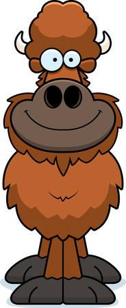 A cartoon illustration of a buffalo smiling.