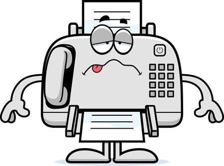 Eine Karikaturillustration ein Faxgerät suchen krank.