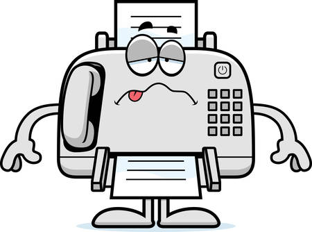 A cartoon illustration of a fax machine looking sick.