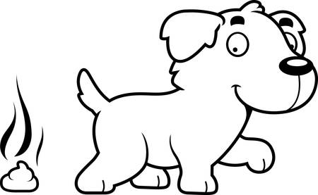 golden retriever puppy: A cartoon illustration of a Golden Retriever pooping.