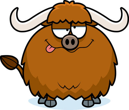 funny ox: A cartoon illustration of a yak looking drunk.