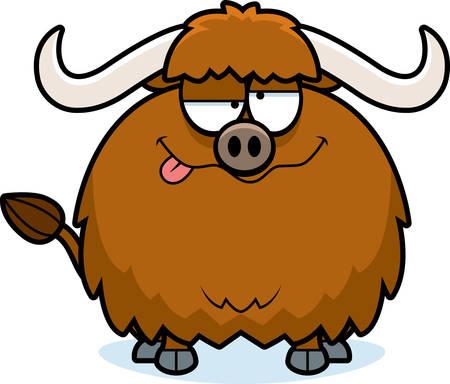 A cartoon illustration of a yak looking drunk.