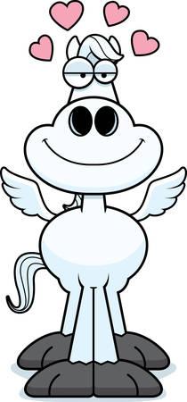 A cartoon illustration of Pegasus with an in love expression.
